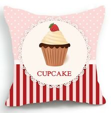 Retro Design 18'' Cushion Cover Pillow Case Pink Cupcake Polka Stripe Home Decor