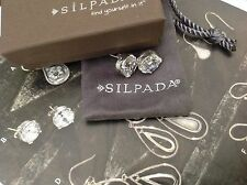 Silpada Cubic Zirconia Sterling Silver Stud Earrings P2381. NIB