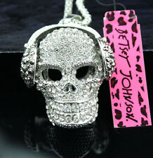 A305 Betsey Johnson Crystal Headset Skull and crossbones Sweater Chain Necklace