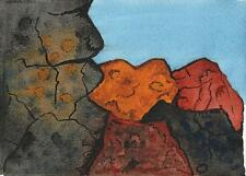 ABSTRACT ROCKS Watercolour Painting ARTHUR MITSON 1994 SURREALISM