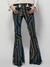 NEW FREE PEOPLE MUSTARD COMBO EVE PRINTED CORDUROY FLARE JEANS PANTS SZ 28