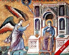 ANCIENT CHRISTIAN MOSAIC ANNUNCIATION TO MARY PAINTING ART REAL CANVAS PRINT