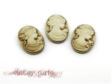 4 Cabochon Vintage beige Kamee 25 x 18 mm Gemme