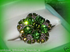 BIG GREEN CRYSTAL SHAMROCK SILVER RING ADJUSTABLE SZ 7/8/9~ST PATRICKS DAY GIFT