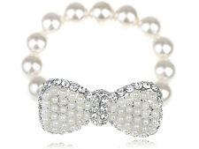 Fashion Lady Pearl Beads Silver Toned Bow-Tie Simple Crystal Rhinestone Bracelet