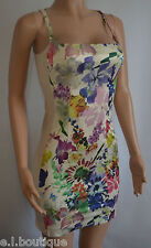 Miss Sixty nude floral pink blue fitted bodycon full back mini dress XS 6 8 BNWT