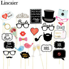30 pcs Photo Booth Props Wedding Decorations Party Supplies Team Bride and Groom