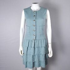 CHANEL DRESS - 6 38 BLUE TWEED SLEEVELESS RUFFLE TIERED SILVER CC SILK 12 2012