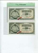 WORLD BANK NOTE - JUGOSLAVIJA 500D WITH DIFF. GOVERNORS SGN UNC  # B104