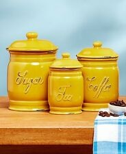 Set 3 Mustard Yellow Ceramic Kitchen Sugar Coffee Tea Canister Storage Jars NEW
