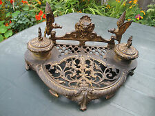 Large Antique 19th Continental French French Ormolu Gilt InkWell Stand