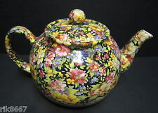 Heron Cross Pottery Summer Meadow BLACK Chintz 6-8 Cup English Tea Pot