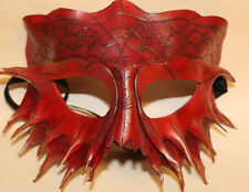 Cinnabar Serpent Dragon Mask Handmade Leather Venetian Masquerade red/Gold