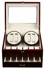 QUALITY WOOD QUAD WATCH WINDER 4+12 STORAGE BOX Classic Elegant