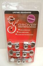 6 Grover Chrome Locking Rotomatic 3x3 machine Heads Tuning Pegs GV-502c
