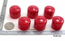 "6 Red Push-On Pliable Vinyl Caps - Plastic tips-  End Caps 1"" inner Diameter"