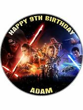"""Star Wars Force Awakens Personalised Message 7.5"""" Round Edible Icing Cake Topper"""