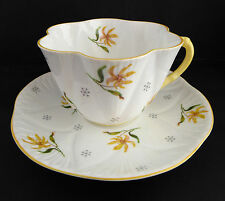 Vtg Shelley Tea Cup Saucer Dainty Shape 3793 Yellow Asiatic Lily Flower Floral
