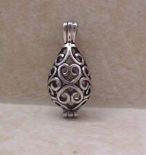 Antique Silver Filigree Teardrop Cage Locket - Pendant Wish Prayer Box Charm