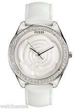 Guess Women's Stainless Steel Case Crystals White Leather Band Watch W85075L1