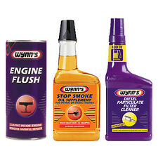 WYNNS 3 Pack ENGINE FLUSH + OIL STOP SMOKE + DIESEL PARTICULATE FILTER CLEANER