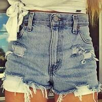Vintage Womens Summer High Waisted Denim Blue Shorts Jeans Summer Hot Pants 8-14
