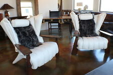 "Set of two 41"" W club exotic chairs white Italian leather solid palm and brass"