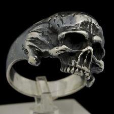 Sterling Silver Mens Skull Ring Memento Mori Masonic Biker Amazing Jewelry Sz11