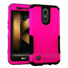 For LG K20 Plus Pink Hybrid Rugged Impact Armor Protector Phone Case Cover