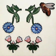 5pcs Bee Flowers Pattern Embroidered Applique Patches Decoration Sew on DIY