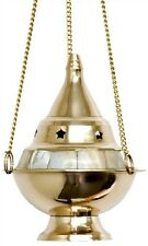"5"" inch Hanging Brass Mother Pearl Incense Resin Charcoal Cone Burner Censer WOW"