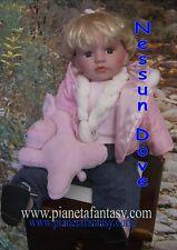 idea regalo bambole bambolina bambola  in vinile+ coniglio con vestito di stoffa