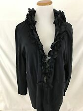 MAGASCHONI COLLECTION navy blue cotton cashmere cardigan sweater Women's XL