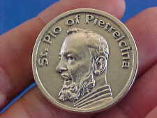 St Padre Pio Pocket Token Healing Pray Hope Don't Worry Saint Medal Oxidized