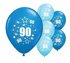 """8 x 90TH BIRTHDAY BLUE MIX 12"""" HELIUM OR AIRFILL BALLOONS (PA)"""