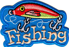 """""""FISHING"""" -PATCH w/BAIT & HOOKS-Iron On Embroidered Applique/Words,Fishing,Sport"""
