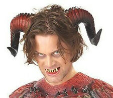 Demon Red Devil Horns & Teeth Fangs Adult Halloween Costume Accessory