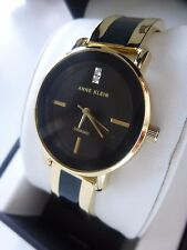 NEW Anne Klein AK/2812BKGB Gold Tone Black Dial Bracelet Diamond Women's Watch