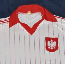vtg POLAND SOCCER JERSEY Men's Small S White Red Pinstriped Polska 70s Made USA