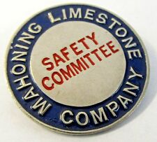 1940's WWII MAHONING LIMESTONE SAFETY COMM. employee badge pinback Home Front +