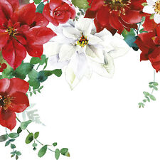 Christmas 20 Paper Lunch Napkins CHRISTMAS BOUQUET Red Wreath Poinsettia