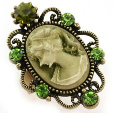 Antique Gold Vintage Style CAMEO Ring Lady Emerald Green Stone Crystal Classic R