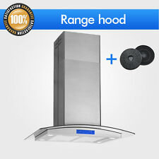 "30""GLASS STAINLESS STEEL ISLAND MOUNT RANGE HOOD Stove Vent + FREE CARBON FILTER"