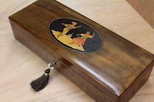 LOVELY 19c SORRENTO OLIVEWOOD  ANTIQUE INLAID JEWELLERY BOX - FAB INTERIOR