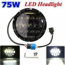 7'' inch Black 75W LED Headlight H4-H13 DRL Hi/Lo Beam For Jeep Wrangler Harley