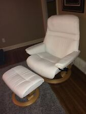 Ekornes Stressless LARGE White Leather Recliner Chair & Ottoman Scandinavian