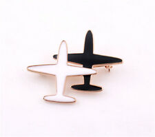 Elegant Charm Black and White Airplanes Neck to Neck Jewelry Pins Brooch Fashion