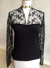 NEW - EDINA RONAY Designer Black Cashmere Silk Lace Party Blouse Top Small 8 10