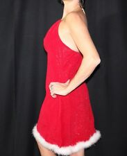 Holiday Red Dress Sparkle White Feather Trim Halter Sexy Mrs. Clause
