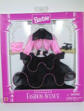 NIB BARBIE DOLL 1997 FASHION AVENUE DELUXE BLACK PINK DRESS